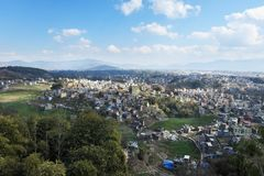 Nepal, view of Kathmandu from the Kapan monastery on a sunny day stock photos