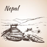 Nepal view with water and many boats Royalty Free Stock Photography
