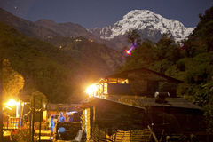 Nepal village in Annapurna Area Stock Photos