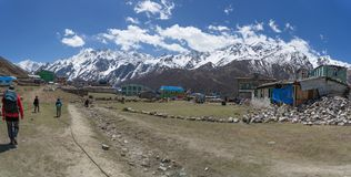 Nepal village in mountains. Lodges village in mountain Nepal valley Stock Images