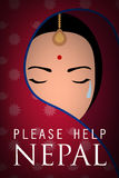 Nepal woman wear sari cry. Please help nepal poster Stock Images