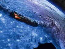 Nepal z wbitą flaga od przestrzeni Obrazy Royalty Free