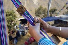 Nepale weaver weaving belt stock photo