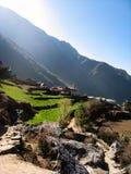 Nepalees dorp in meest everest gebied Stock Foto's