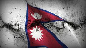 Nepal grunge dirty flag waving on wind. Nepalese background fullscreen grease flag blowing on wind. Realistic filth fabric texture on windy day Stock Photography