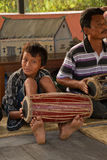 Nepalese band for traditional Nepalese dancer in Chitwan, Nepal Stock Images