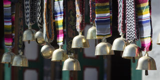 Nepalese bells are sold on the market in Namche Bazar, Nepal, Hi Royalty Free Stock Photo