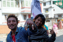 Nepalese bikers gathering for a political rally Stock Photography