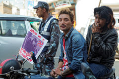 Nepalese bikers gathering for a political rally Royalty Free Stock Photo