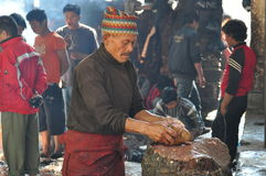 Nepalese butcher Stock Photography
