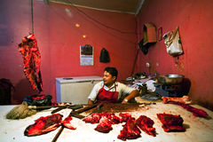 Nepalese butcher Stock Photo