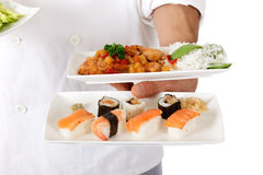 Nepalese chef male hand, oriental food plate Royalty Free Stock Images