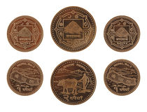 Nepalese Coins Isolated on White Royalty Free Stock Photos
