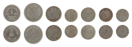 Nepalese Coins Isolated on White Royalty Free Stock Photography