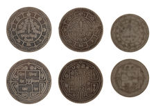 Nepalese Coins Isolated on White Stock Image