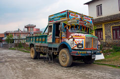 Nepalese colorful truck stock photography