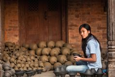 Nepalese craftswoman Stock Photography