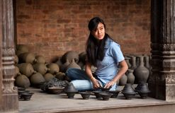 Nepalese craftswoman Royalty Free Stock Images
