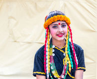 Nepalese Dancers in Beautiful Traditional Nepali Attire Royalty Free Stock Images