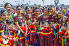 Nepalese Dancers in Traditional Nepali Attire Royalty Free Stock Image
