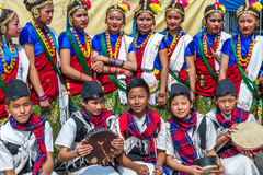 Nepalese Dancers in Traditional Nepali Attire Stock Photos