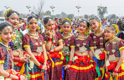 Nepalese Dancers in Traditional Nepali Attire Royalty Free Stock Photography