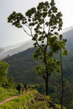 Nepalese Family Hiking Mountain Trail Village Sunset.Young Group People Climbing Track Traveler Beautiful End Noth Asia Stock Photo