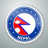 Nepalese flag label Royalty Free Stock Photos