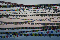 Nepalese flags. In the evening wind Royalty Free Stock Photos