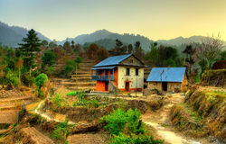 Nepalese hill house Stock Images