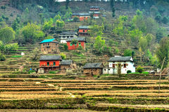 Nepalese hill village Royalty Free Stock Photos