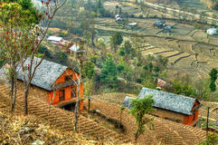 Nepalese hill village Royalty Free Stock Images
