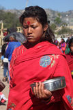 Nepalese Hindu Devotee participate in the Swasthani Brata Katha festival held at Swasthani Matha temple. On Feb 04, 2014 in Sankhu, Nepal Royalty Free Stock Photography