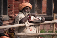 Nepalese holy man Royalty Free Stock Images