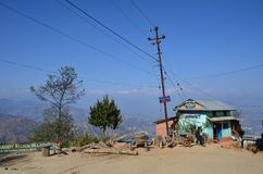 Nepalese house near Mountains Royalty Free Stock Image