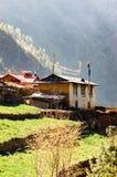Nepalese huizen in meest everest gebied Stock Foto's