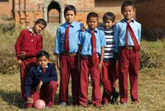 Nepalese kids soccer team Royalty Free Stock Photos
