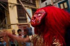 Nepalese man dressed as the Kumari, Durbar Square, Kathmandu, Nepal Stock Images