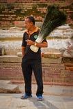 Nepalese man selling peacock feathers, Kathmandu, Nepal Royalty Free Stock Photos