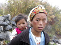 Nepalese mother with a child Stock Image