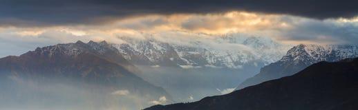 Nepalese mountain at sunset Stock Photos