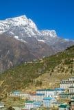 Namche Bazaar town in Khumbu, mountain village on EBC trekking route in Nepal. Nepalese mountain village on EBC trekking route from the Kala Patthar mountain in Stock Images