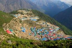 Namche Bazaar town in Khumbu, mountain village on EBC trekking route in Nepal. Nepalese mountain village on EBC trekking route from the Kala Patthar mountain in Royalty Free Stock Photography