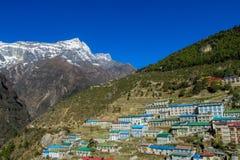 Namche Bazaar town in Khumbu, mountain village on EBC trekking route in Nepal. Nepalese mountain village on EBC trekking route from the Kala Patthar mountain in Stock Photography
