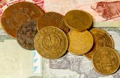 Nepalese muntstukken op de bankbiljetten Royalty-vrije Stock Foto