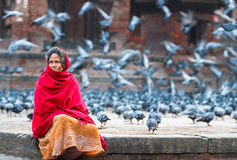 Nepalese Old Woman in Kathmandu Durbar Square Stock Photo