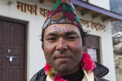 Nepalese during one of the festivals Stock Images