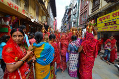 Nepalese people celebrating the Dasain festival in Kathmandu, Ne Stock Photo