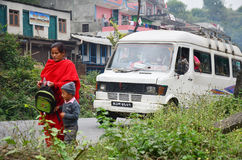 Nepalese People and foreigner and traffic on road Stock Images