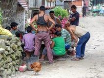 Nepalese people in Jagat village Stock Photo